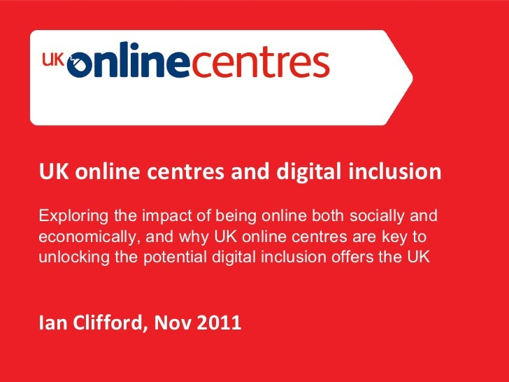 Section Divider: Heading intro here. UK online centres and digital inclusion Exploring the impact of being online both soc...