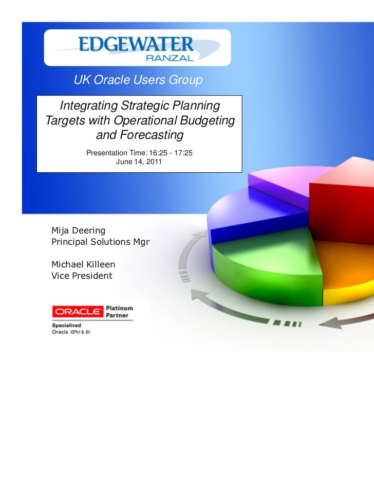 UK Oracle Users Group  Integrating Strategic PlanningTargets with Operational Budgeting         and Forecasting         Pr...