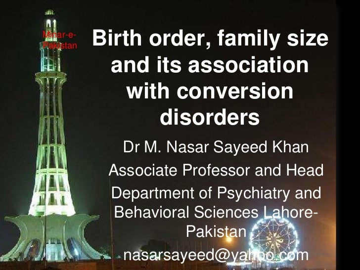 Minar-e-Pakistan   Birth order, family size             and its association               with conversion                 ...