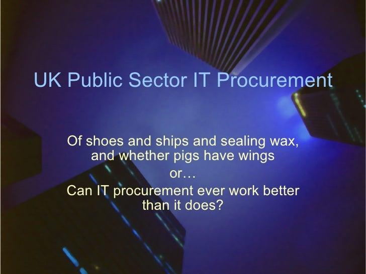 UK Public Sector IT Procurement