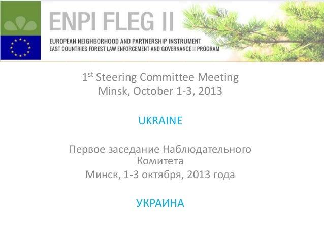 1st Steering Committee Meeting Minsk, October 1-3, 2013 UKRAINE Первое заседание Наблюдательного Комитета Минск, 1-3 октяб...