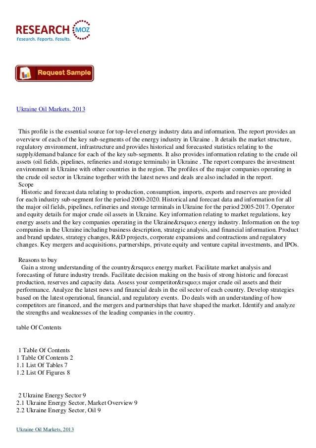 Latest Report on: Ukraine Oil Markets, 2013