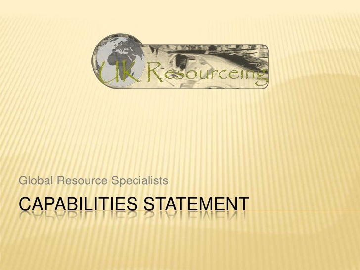 capabilities statement<br />Global Resource Specialists<br />