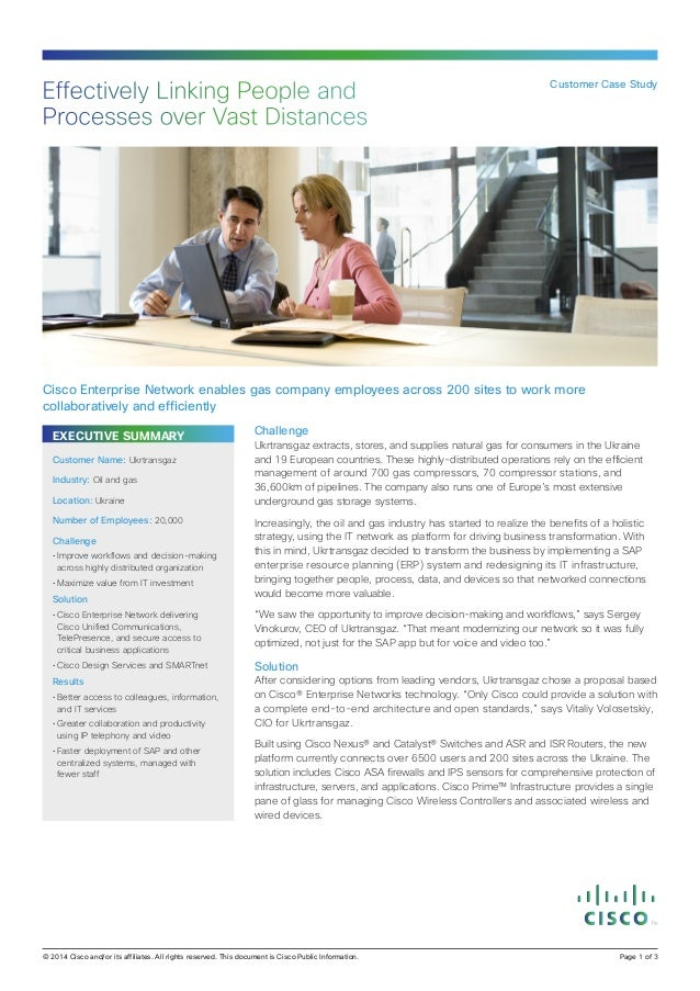 Effectively Linking People and Processes over Vast Distances  Customer Case Study  Cisco Enterprise Network enables gas co...