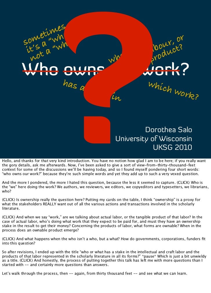 Who owns our work? (notes)