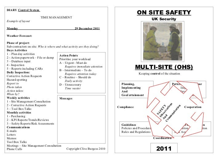 ON SITE SAFETYDIARY Control System                         TIME MANAGEMENTExample of layout                               ...