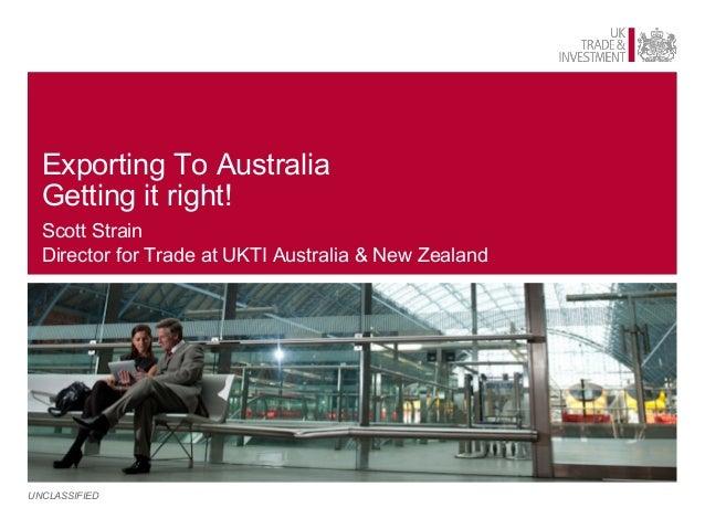 UKTI Australia Webinar Presentation - Exporting to Australia