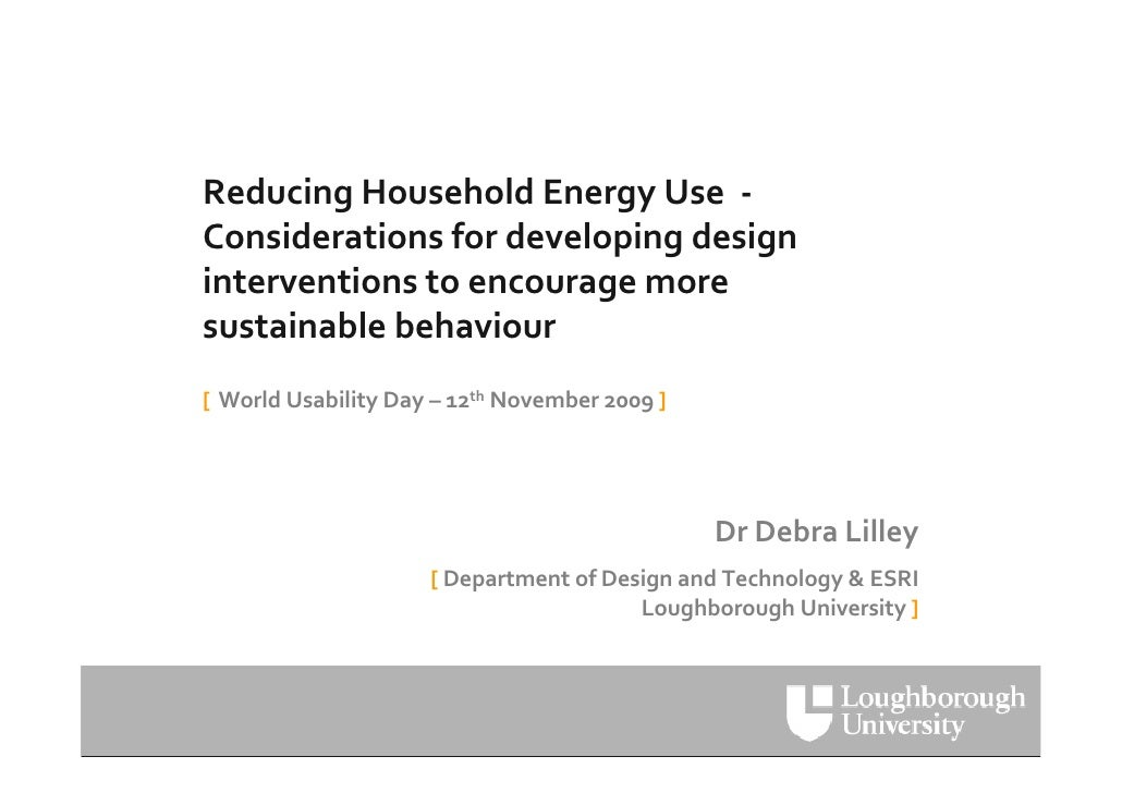 UKUPA WUD09  Debra Lilley: Reducing Household Energy Use