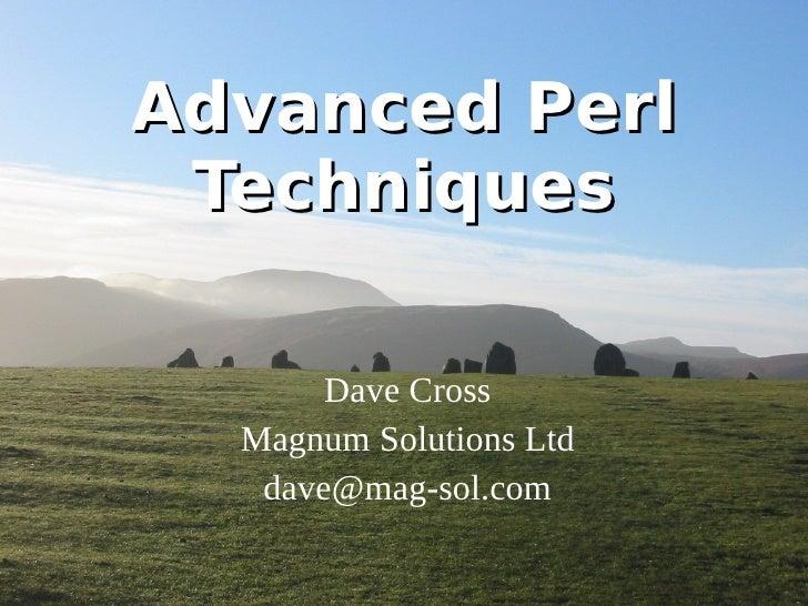 Advanced Perl Techniques