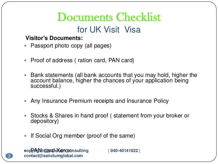 Checklist Form Uk Visa ... 3. Documents Checklist for UK Visit Visa ...