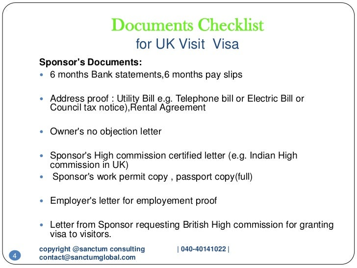 Checklist Form Uk Visa ... 4. Documents Checklist for UK Visit Visa ...
