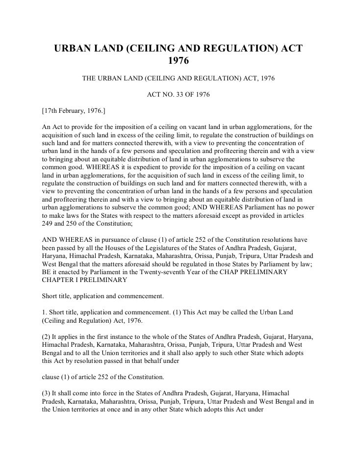 URBAN LAND (CEILING AND REGULATION) ACT                      1976               THE URBAN LAND (CEILING AND REGULATION) AC...