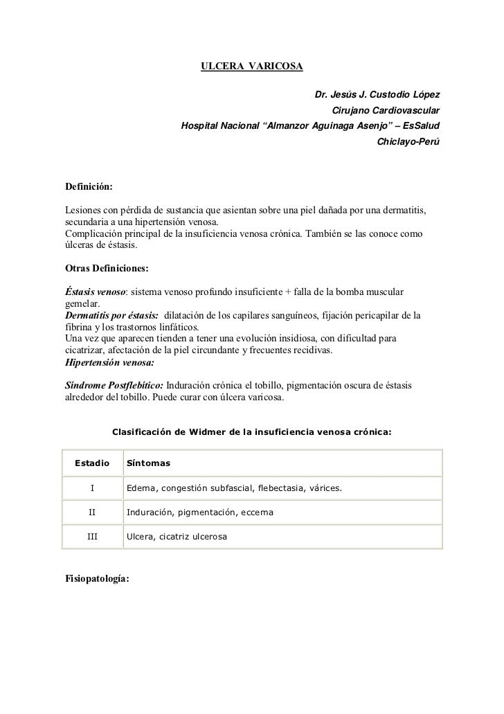 ULCERA VARICOSA                                                                 Dr. Jesús J. Custodio López               ...
