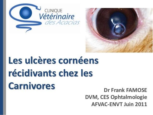 Les ulcères cornéensrécidivants chez lesCarnivores             Dr Frank FAMOSE                 DVM, CES Ophtalmologie     ...