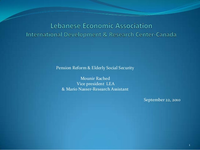 Uleac pension reform and elderly social security in lebanon part 1