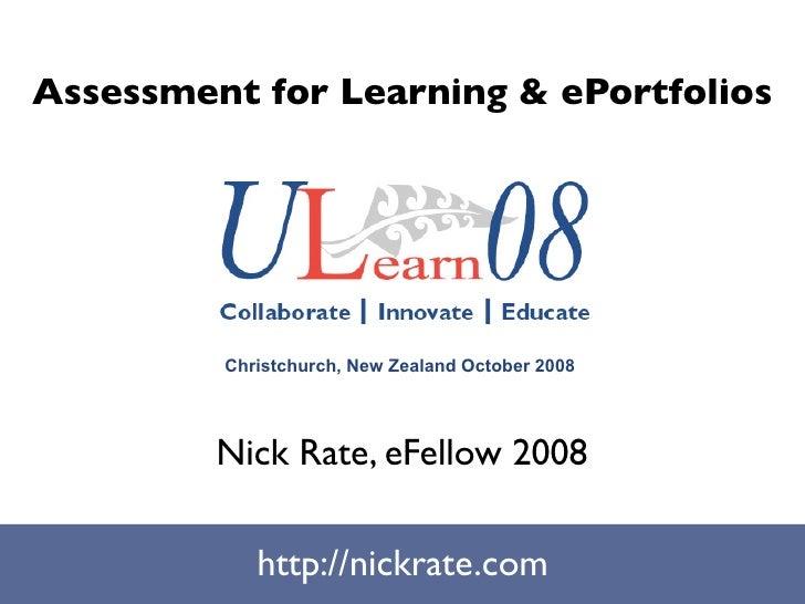 Ulearn08: AFL & ePortfolios