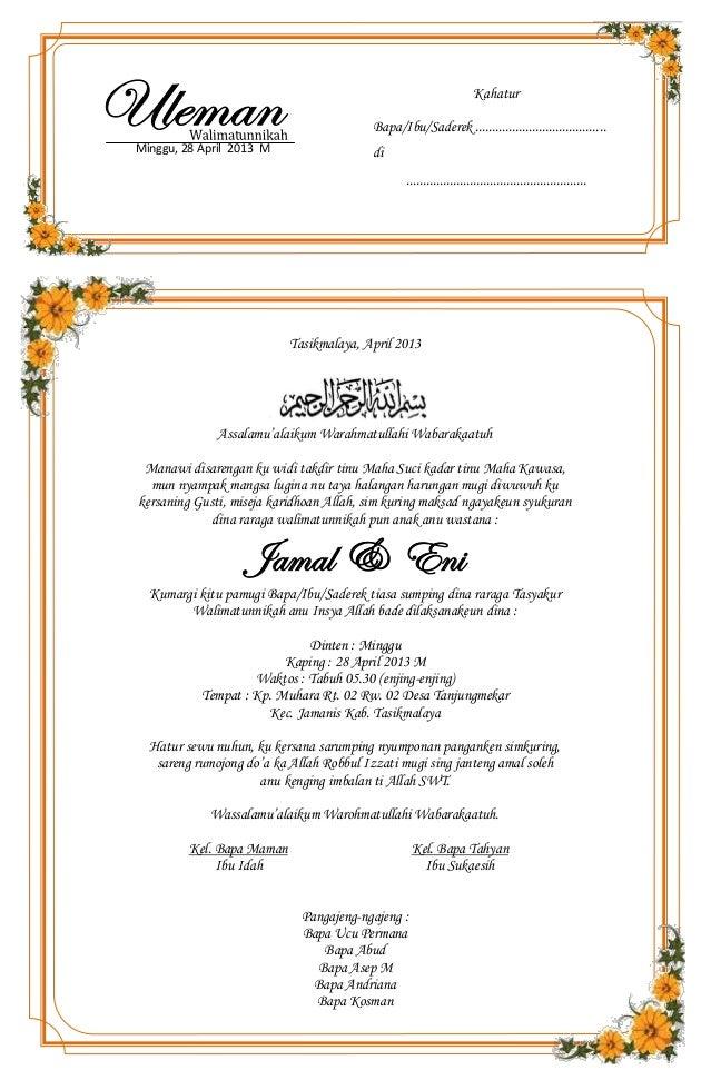 undangan pernikahan bahasa sunda / Uleman walimatunnikah (bahasa sunda