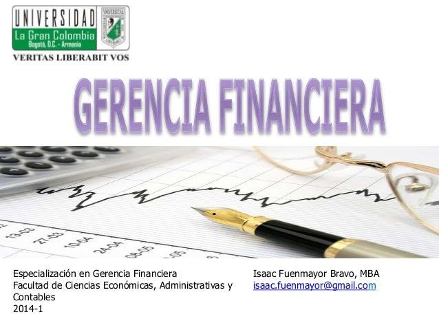 Isaac Fuenmayor Bravo, MBA isaac.fuenmayor@gmail.com Especialización en Gerencia Financiera Facultad de Ciencias Económica...