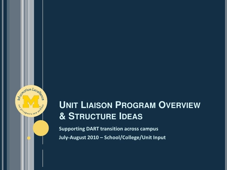 Unit Liaison Program Overview & Structure Ideas<br />Supporting DART transition across campus<br />July-August 2010 – Scho...