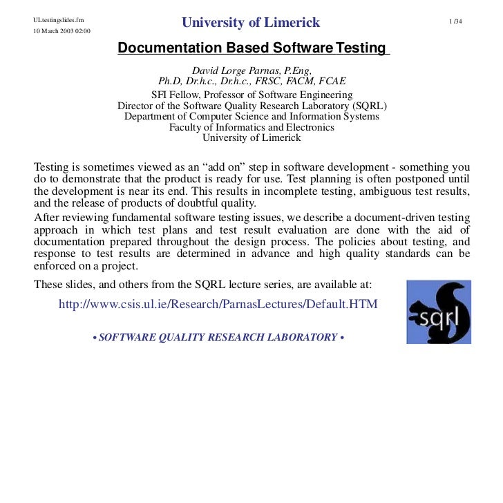 David Parnas - Documentation Based Software Testing - SoftTest Ireland