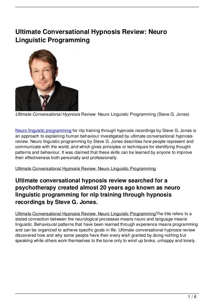 Ultimate Conversational Hypnosis Review: NeuroLinguistic ProgrammingUltimate Conversational Hypnosis Review: Neuro Linguis...