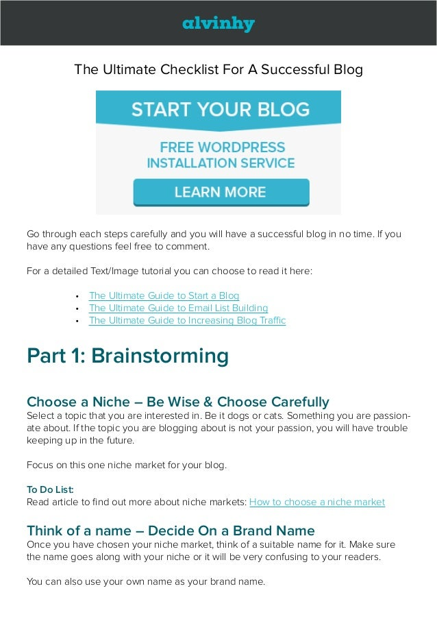 alvinhy The Ultimate Checklist For A Successful Blog Go through each steps carefully and you will have a successful blog i...