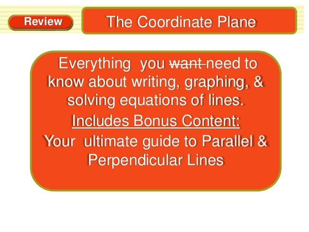 Review      The Coordinate Plane     Everything you want need to   know about writing, graphing, &      solving equations ...