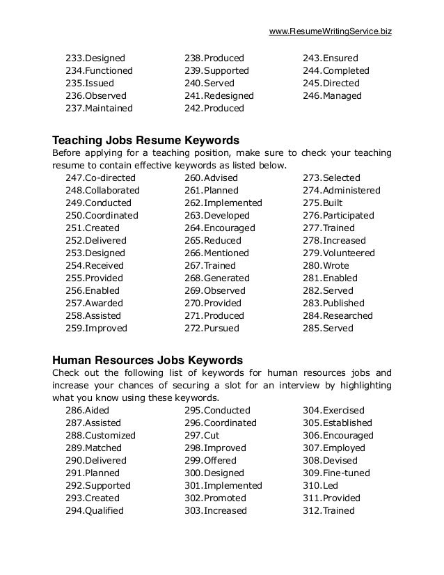 resume keywords list