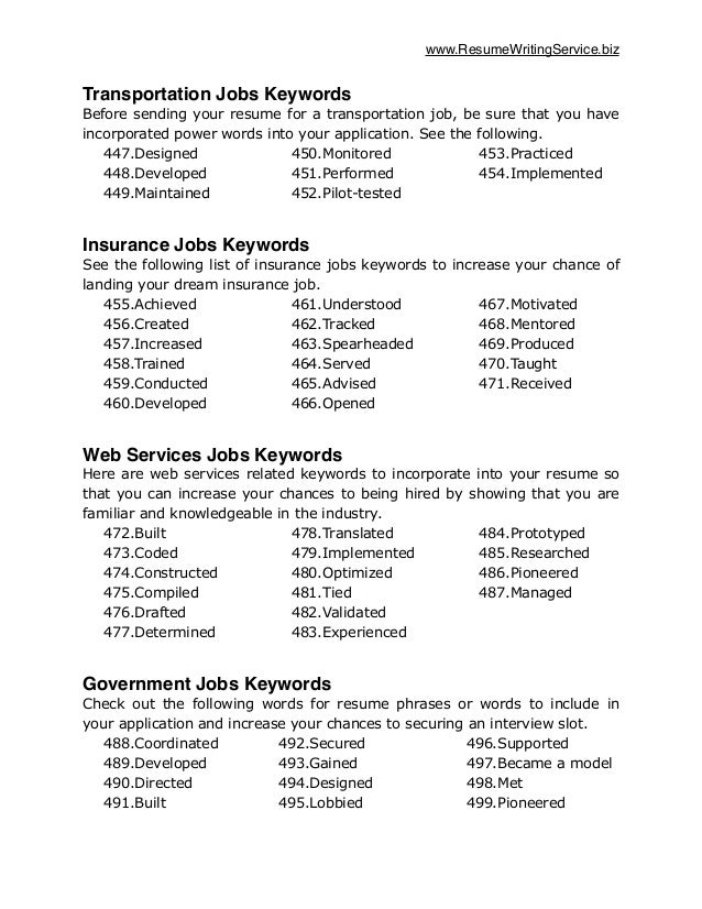 resume keywords list by industry resume ideas