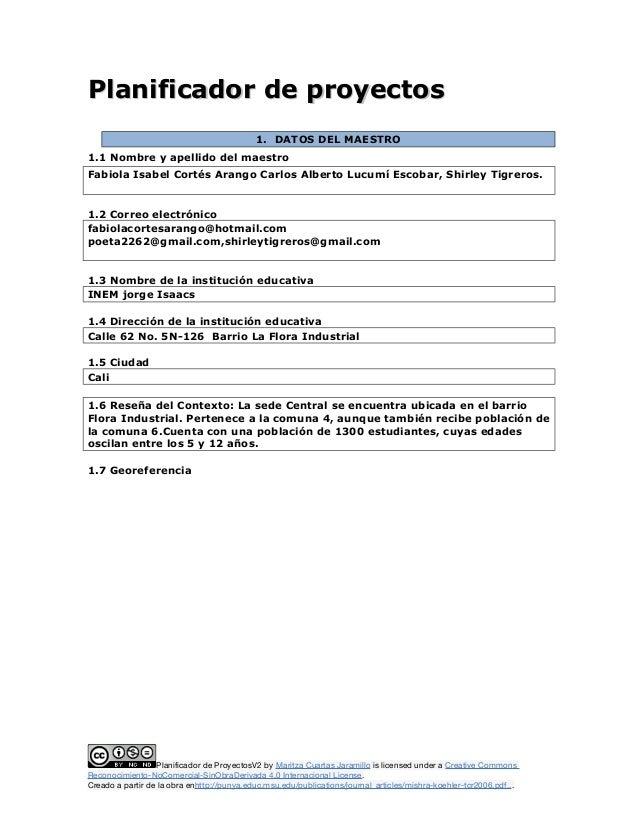 Planificador de proyectosPlanificador de proyectos 1. DATOS DEL MAESTRO 1.1 Nombre y apellido del maestro Fabiola Isabel C...
