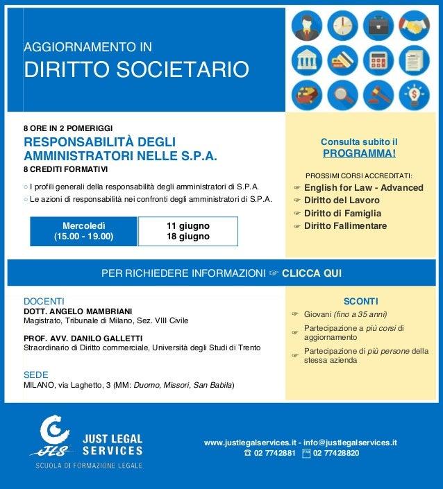 AGGIORNAMENTO IN DIRITTO SOCIETARIO 8 ORE IN 2 POMERIGGI RESPONSABILITÀ DEGLI AMMINISTRATORI NELLE S.P.A. 8 CREDITI FORMAT...