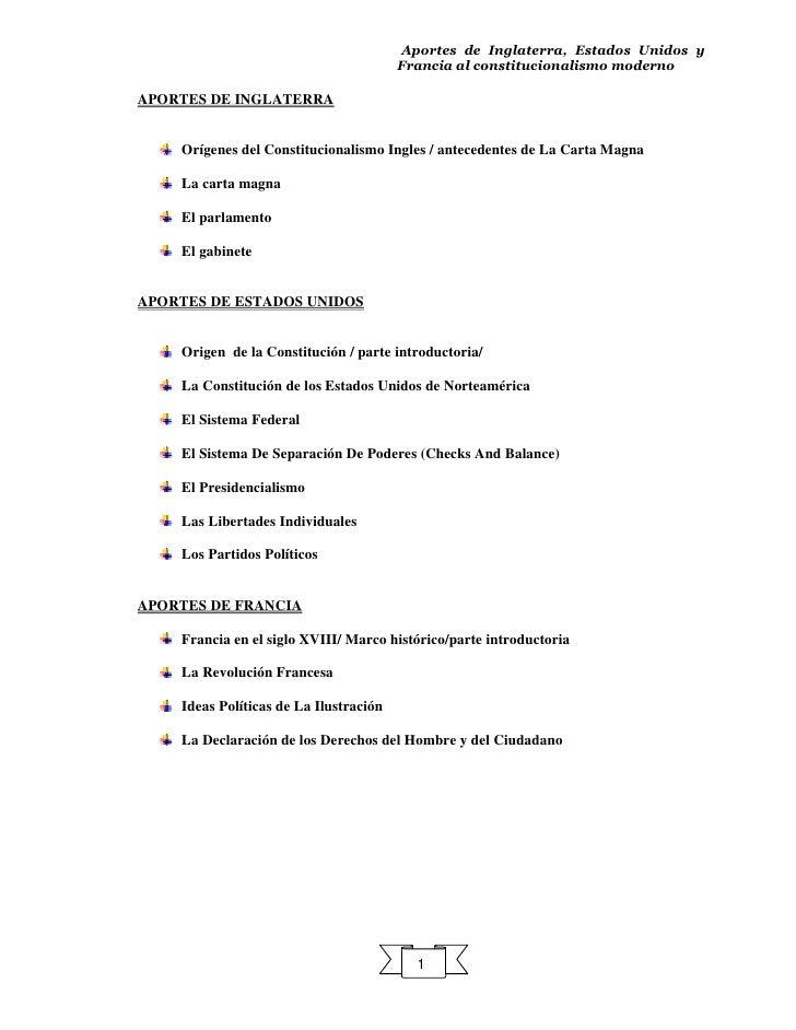 Aportes de Inglaterra, Estados Unidos y                                         Francia al constitucionalismo moderno  APO...