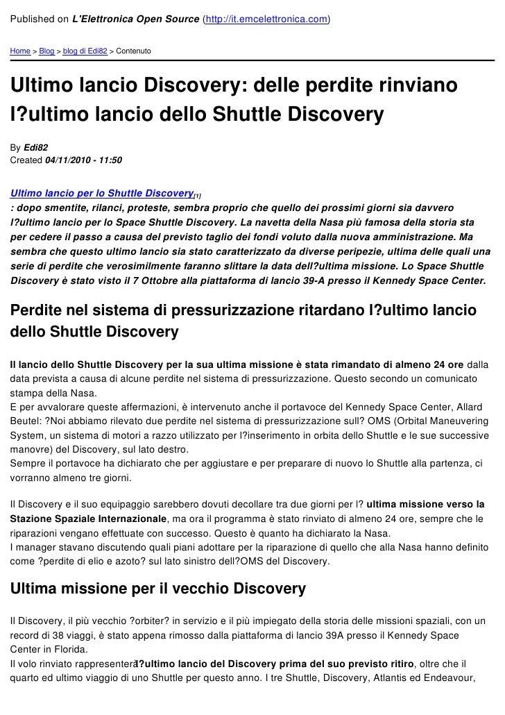 Published on LElettronica Open Source (http://it.emcelettronica.com)Home > Blog > blog di Edi82 > ContenutoUltimo lancio D...