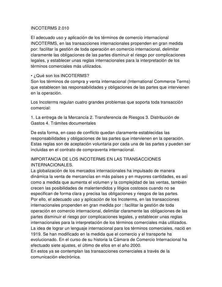 INCOTERMS 2.010El adecuado uso y aplicación de los términos de comercio internacionalINCOTERMS, en las transacciones inter...