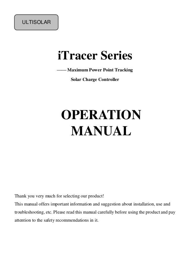 Ultisolar iT3415 iT4415 iT6415  iTracer User Manual
