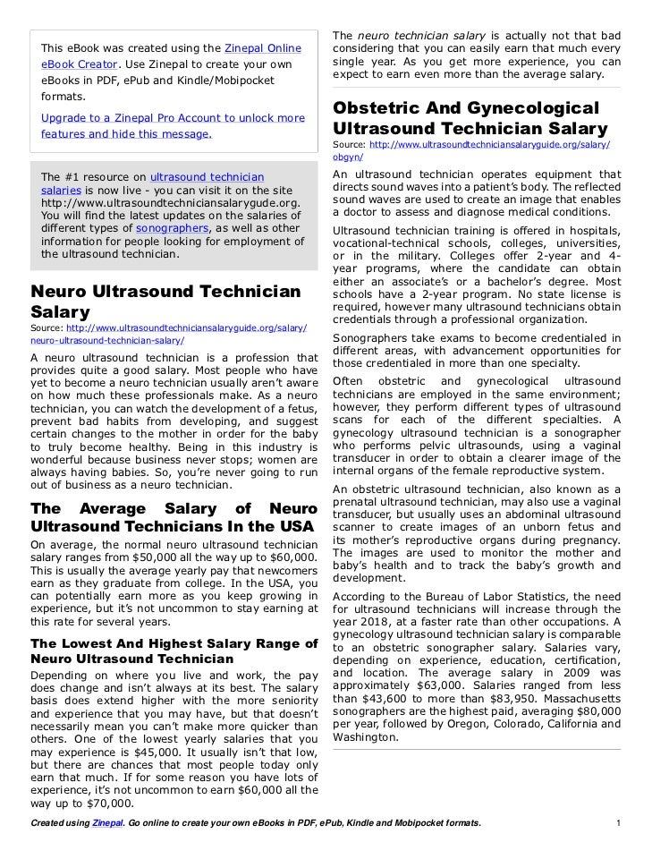 The neuro technician salary is actually not that bad  This eBook was created using the Zinepal Online                    c...