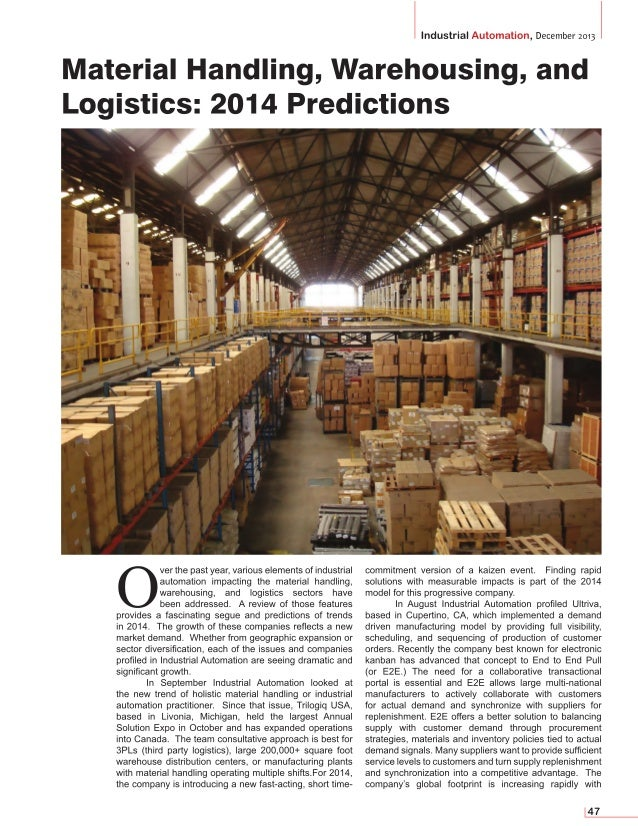 Material Handling, Warehousing, and Logistics: 2014 Predictions