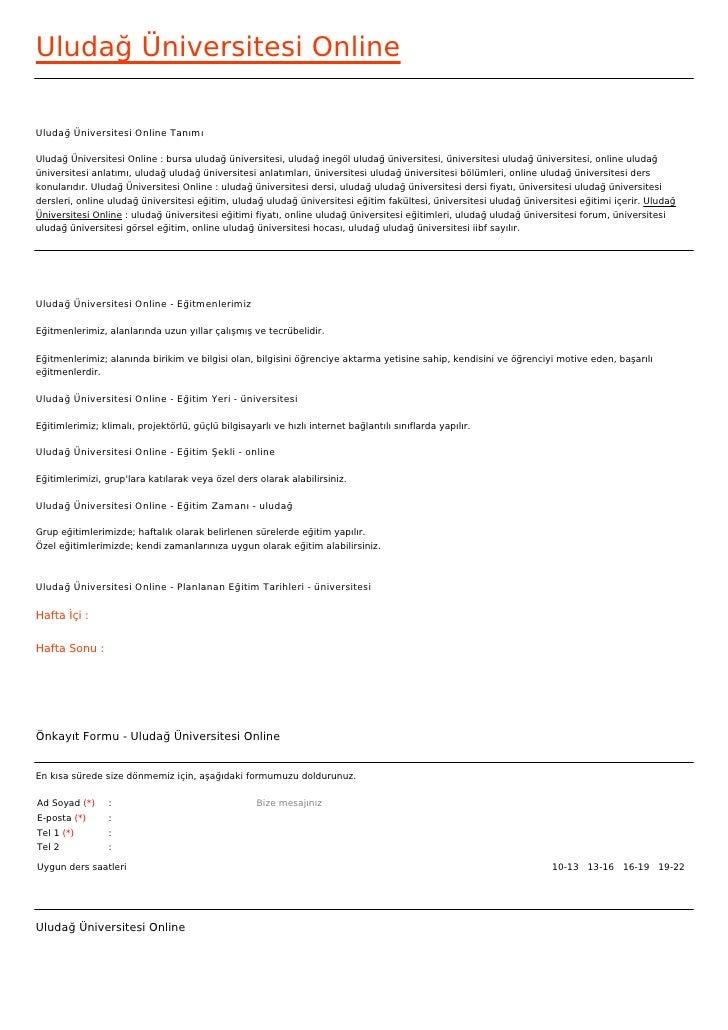 Uludağ Üniversitesi OnlineUludağ Üniversitesi Online TanımıUludağ Üniversitesi Online : bursa uludağ üniversitesi, uludağ ...