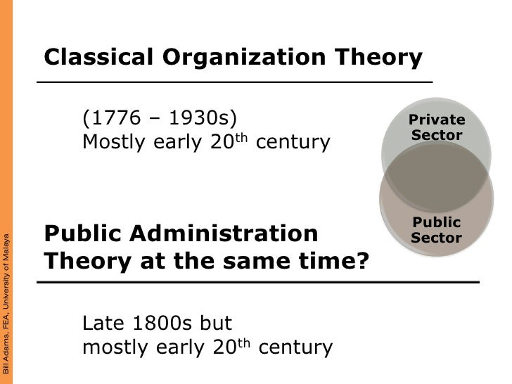 Classical Organization Theory                                            (1776 – 1930s)              Private              ...