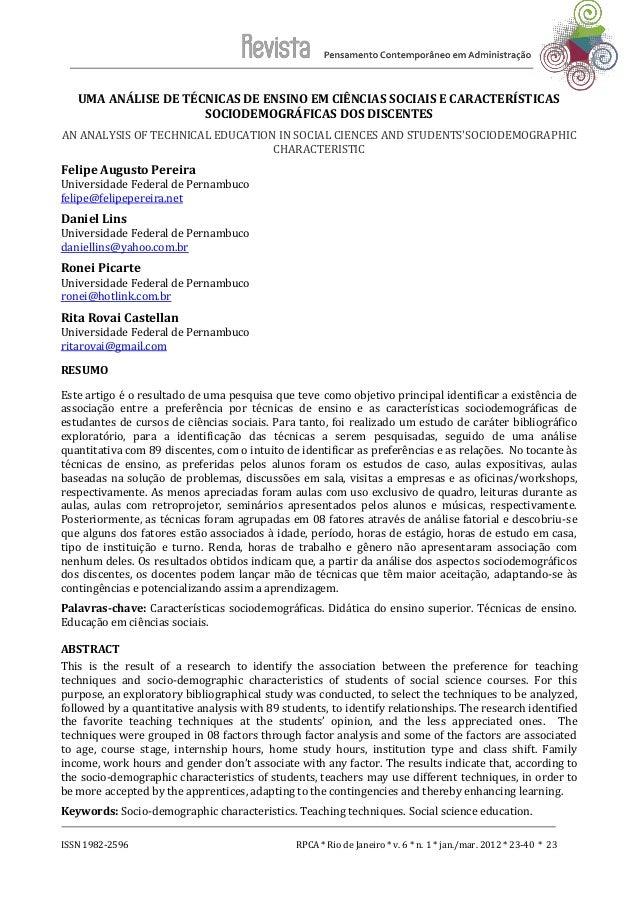 ISSN 1982-2596 RPCA * Rio de Janeiro * v. 6 * n. 1 * jan./mar. 2012 * 23-40 * 23 UMA ANÁLISE DE TÉCNICAS DE ENSINO EM CIÊN...