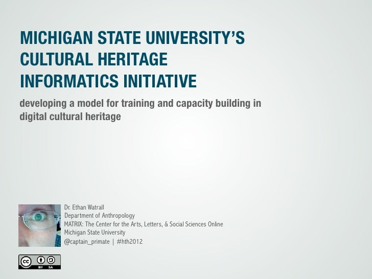 MICHIGAN STATE UNIVERSITY'SCULTURAL HERITAGEINFORMATICS INITIATIVEdeveloping a model for training and capacity building in...