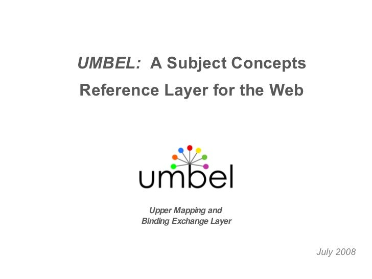 July 2008 Upper Mapping and  Binding Exchange Layer UMBEL:  A Subject Concepts Reference Layer for the Web