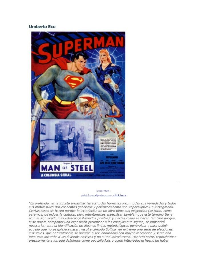 Umberto Eco                                             Superman ,                                 print from allposters.c...