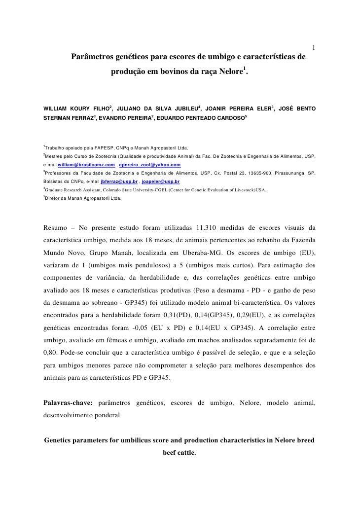 1             Parâmetros genéticos para escores de umbigo e características de                                 produção em...