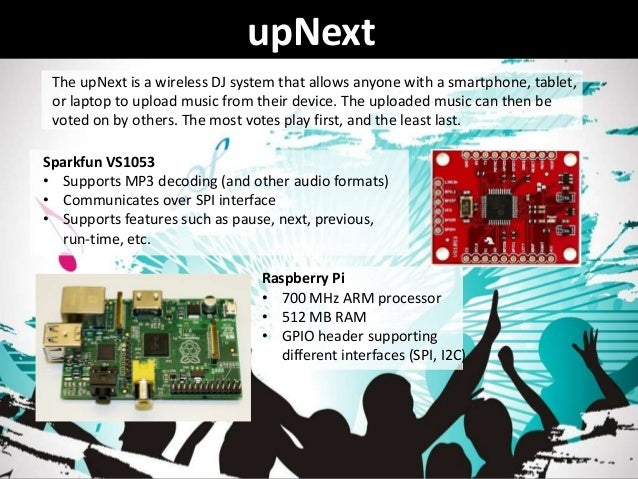 upNextRaspberry Pi• 700 MHz ARM processor• 512 MB RAM• GPIO header supportingdifferent interfaces (SPI, I2C)Sparkfun VS105...
