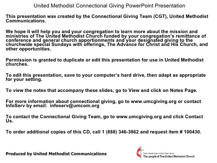 United Methodist Connectional Giving PowerPoint Presentation   This presentation was created by the Connectional Giving Te...