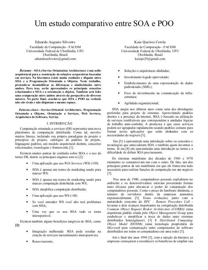 Um estudo comparativo entre SOA e POO                 Eduardo Augusto Silvestre                                           ...
