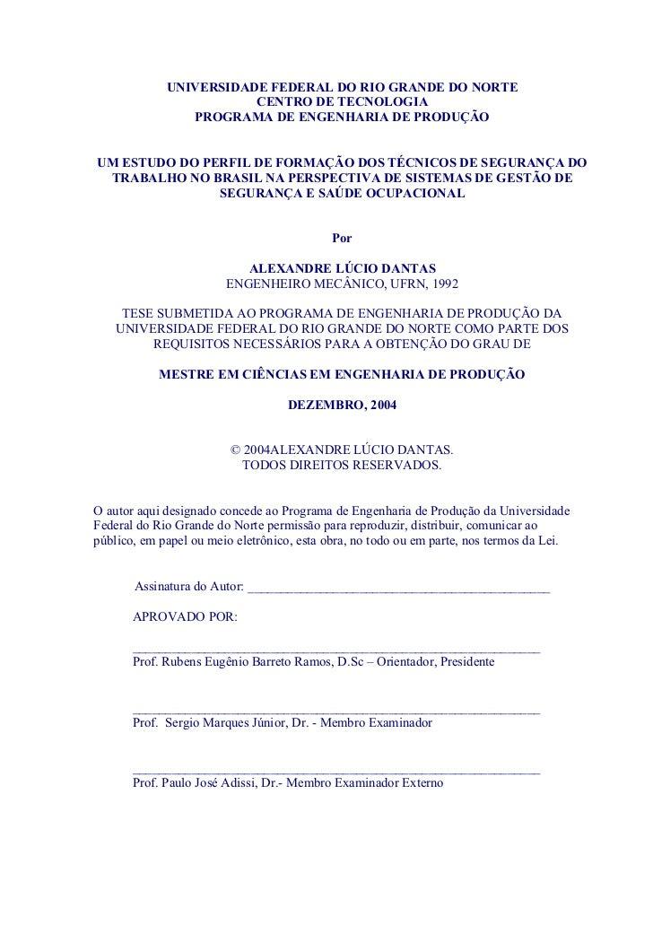 Um estudo do perfil de formação dos técnicos de segurança do trabalho no brasil