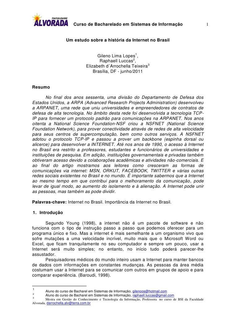 Curso de Bacharelado em Sistemas de Informação                                        1                     Um estudo sobr...