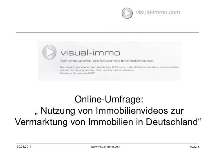 """Online-Umfrage:  """" Nutzung von Immobilienvideos zur Vermarktung von Immobilien in Deutschland"""""""